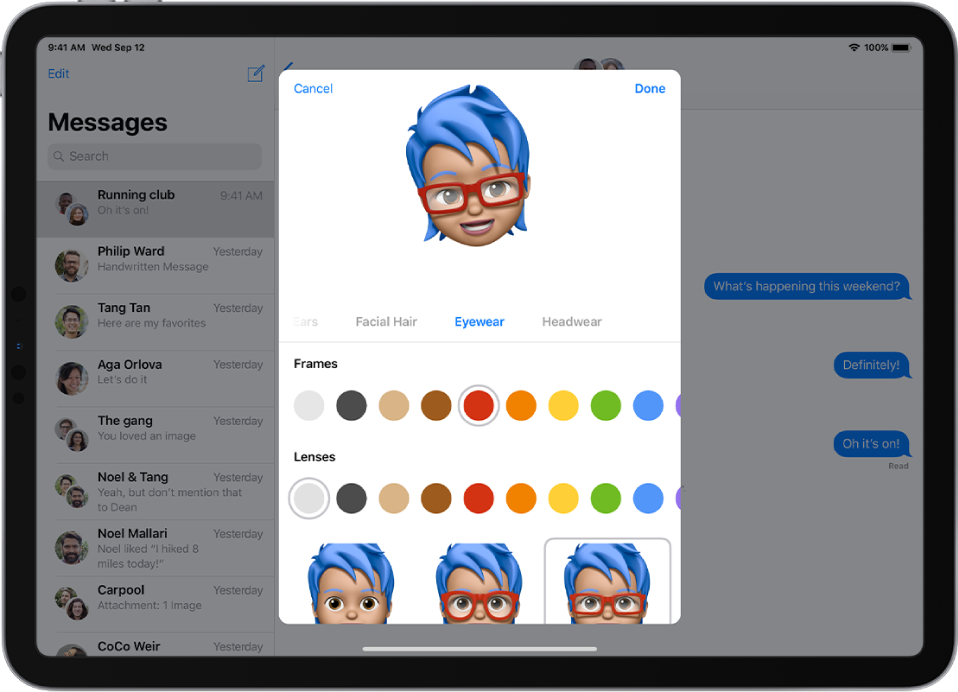 The screen for creating a Memoji, showing the character being created at the top, features to customize below the character, then below that, options for the selected feature. The Done button is at the top right and the Cancel button is at the top left.