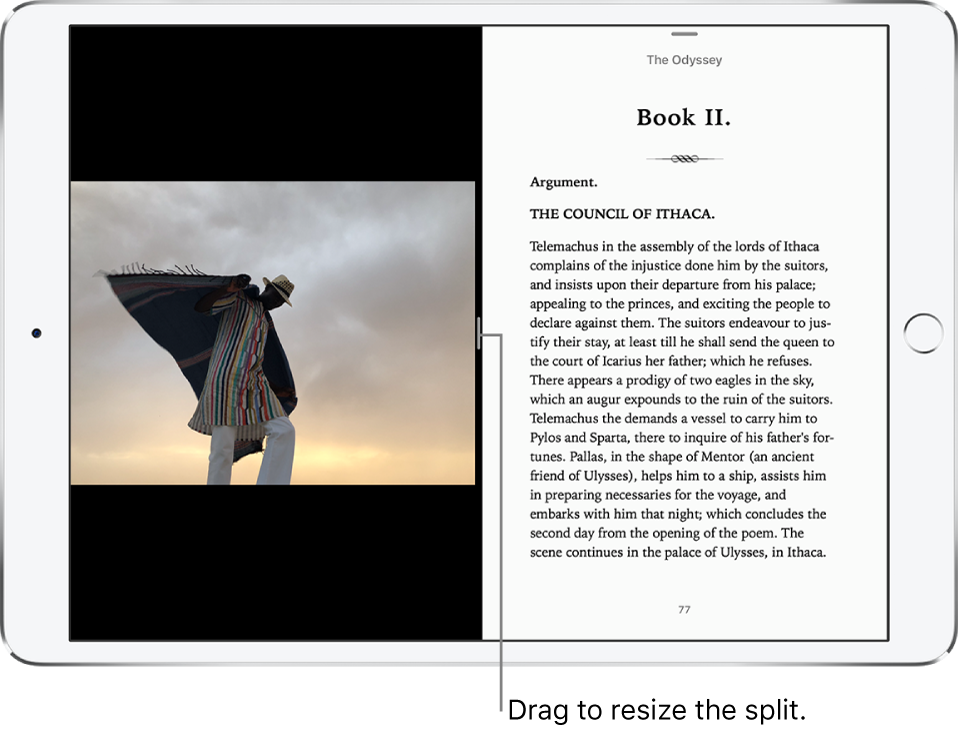 The Photos app is open on the left, and the Books app is open on the right. Both apps are active.