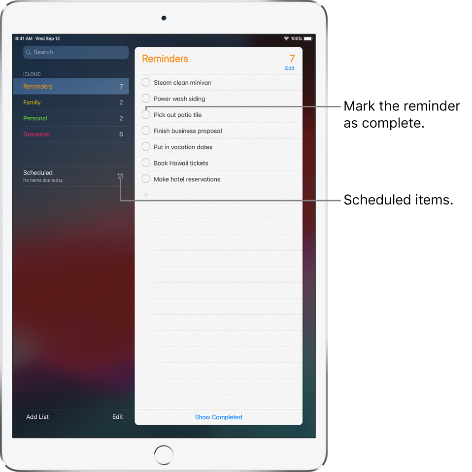 A Reminders screen showing a list of reminders. Tap a reminder to mark it as completed