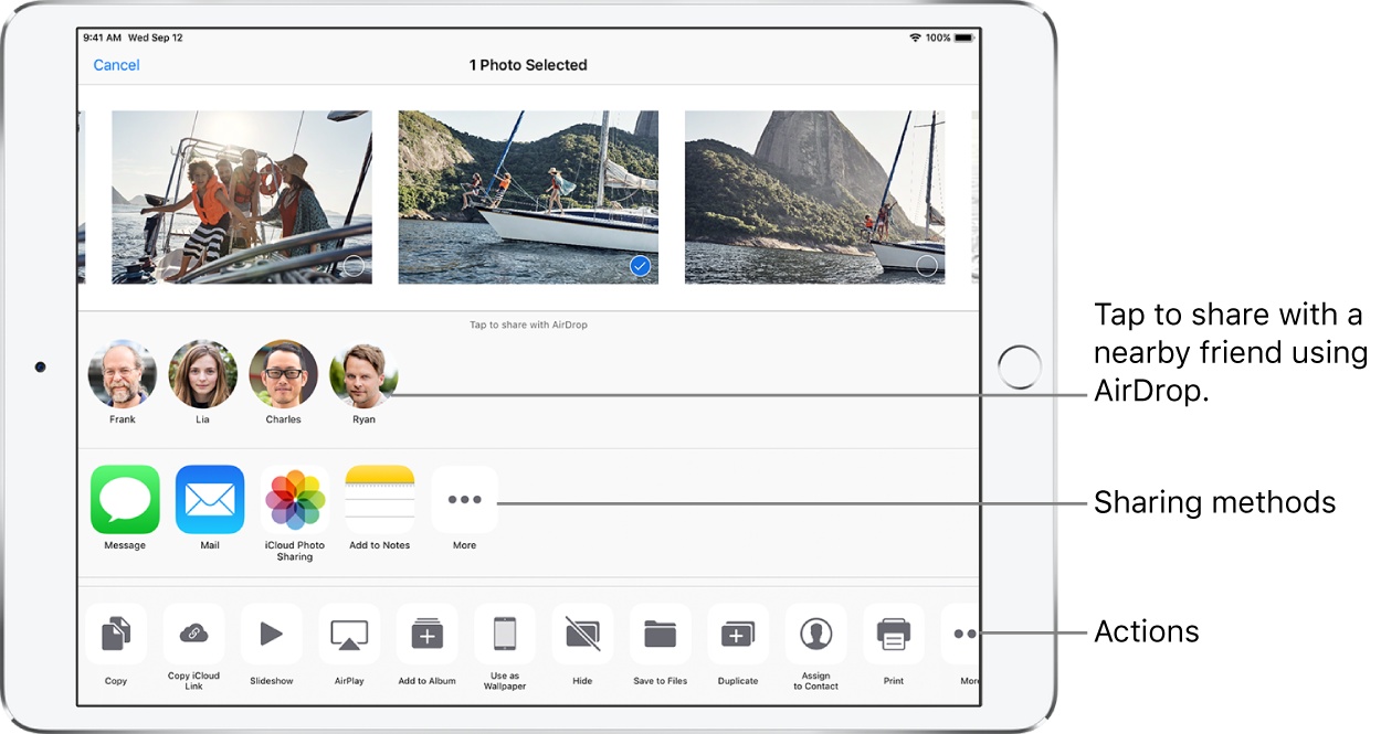 The AirDrop Share screen. At the top are photos to select and share. Below that are people you can share with using AirDrop. The next row shows sharing options, including Message, Mail, Add to Notes, and more. The bottom row shows other actions, including Copy, Slideshow, and AirPlay.
