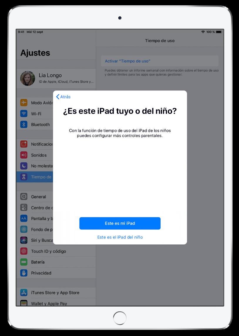 """Pantalla de configuración de tiempo de uso con la opción para seleccionar """"Este es mi iPad"""" o """"Este es el iPad de mi hijo""""."""