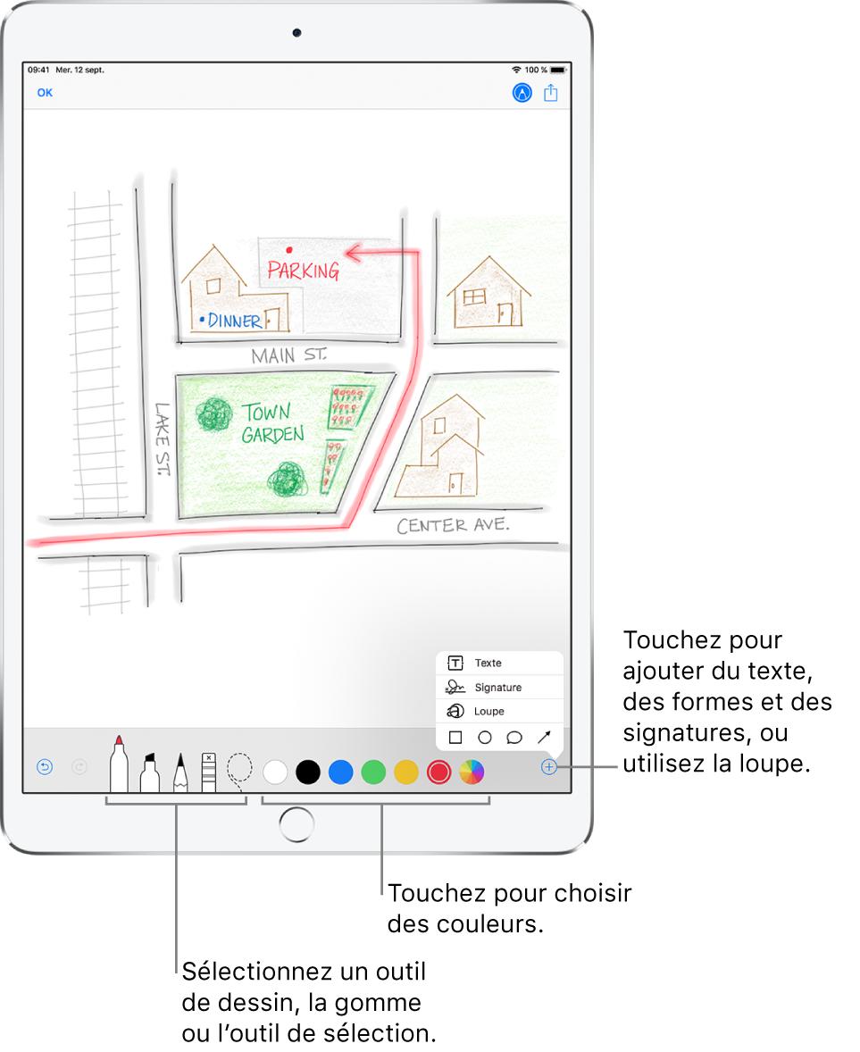Une image dessinée dans un e-mail. Les outils pour la création du dessin se trouvent en bas de l'écran. Les outils sont, de gauche à droite, des stylos, un crayon, une gomme, un outil de sélection, six choix de couleur et un bouton Ajouter permettant d'ajouter une zone de texte, une signature et des formes, puis un autre pour utiliser la loupe.
