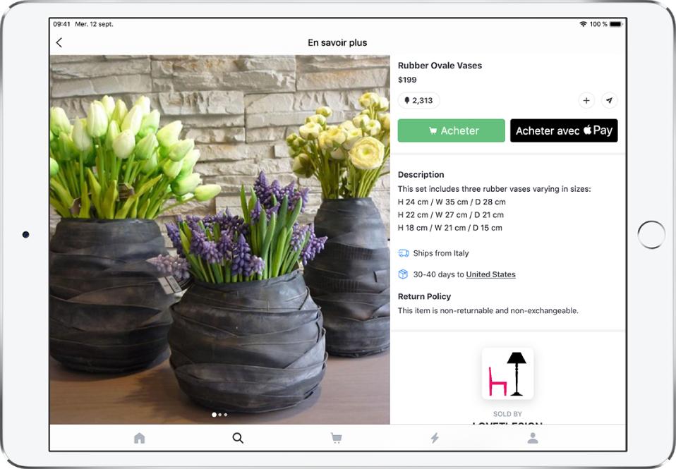 Une app affichant une page de produit qui inclut le boutonAcheter avec ApplePay.