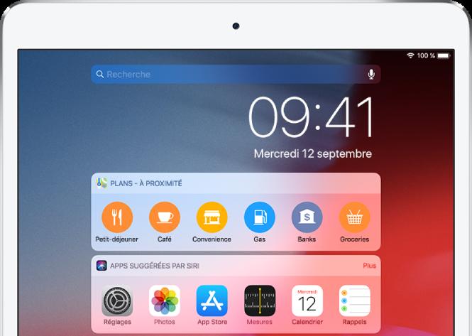 L'affichage du jour, présentant les widgets Apps suggérées par Siri, Calendrier, Plans à proximité, Musique et Rappels.