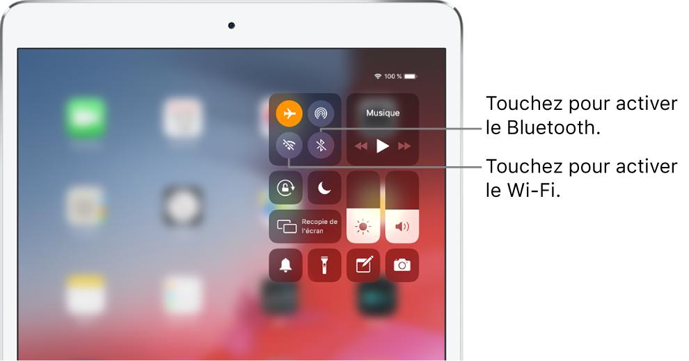 Le Centre de contrôle en mode Avion, avec des légendes expliquant comment activer le Wi-Fi en touchant le bouton en bas à gauche et comment activer le Bluetooth en touchant le bouton en bas à droite. Ces boutons se trouvent dans le groupe de commandes en haut à gauche.