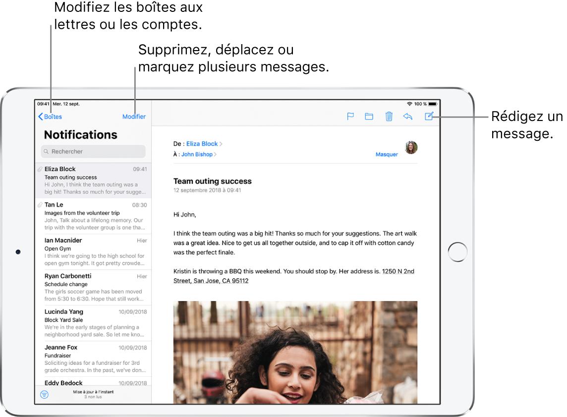 La boîte de réception de Mail, avec la liste des e-mails sur la gauche et un fil de discussion par e-mails ouvert sur la droite. Le bouton Boîtes permettant de passer à une autre boîte aux lettres se trouve dans le coin supérieur gauche. Le bouton permettant de rédiger un nouvel e-mail se trouve dans le coin supérieur droit.