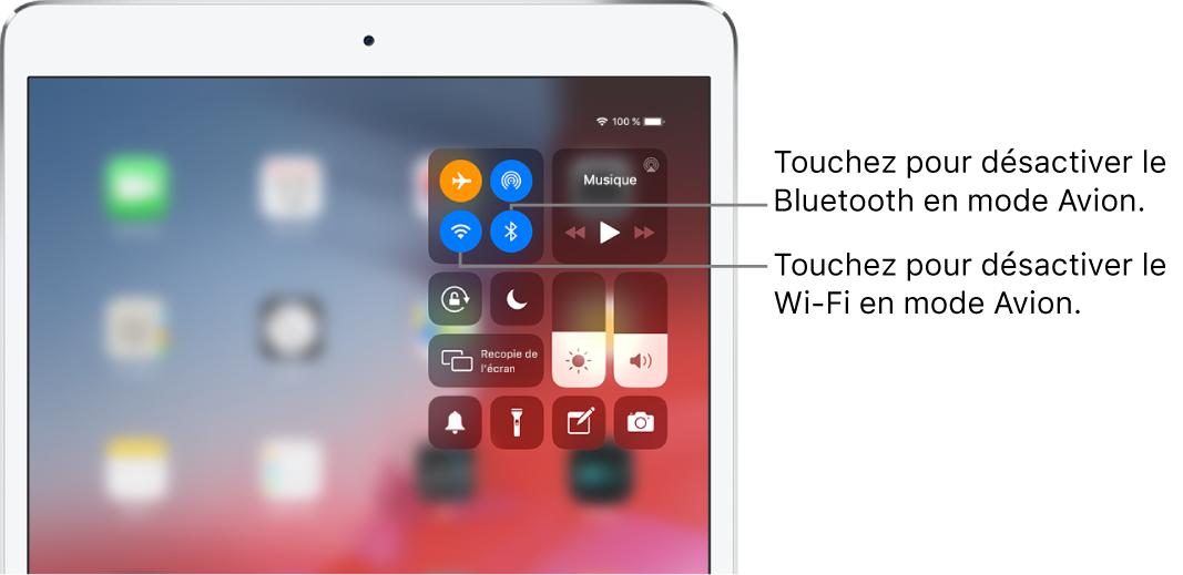 Le Centre de contrôle en mode Avion, avec des légendes expliquant comment désactiver le Wi-Fi en touchant le bouton en bas à gauche et comment désactiver le Bluetooth en touchant le bouton en bas à droite. Ces boutons se trouvent dans le groupe de commandes en haut à gauche.