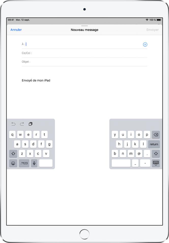 Clavier dissocié détaché situé au milieu de l'écran de l'iPad.