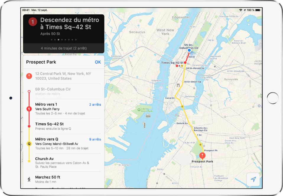 Un plan du réseau de NewYork indiquant un itinéraire en direction de ProspectPark. Une fiche d'itinéraire à gauche affiche un itinéraire guidé, notamment une correspondance et 15m de marche.