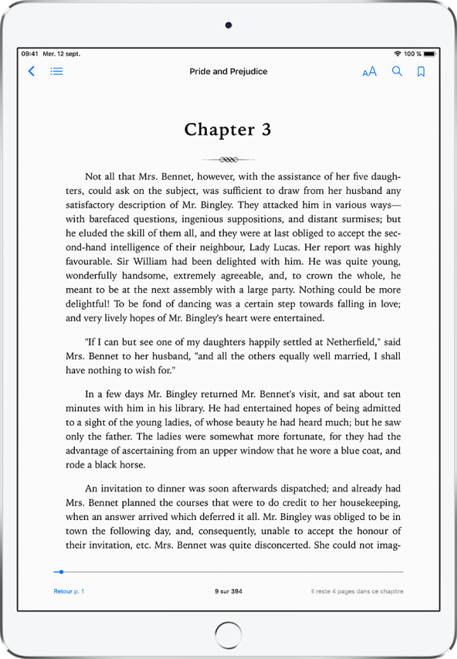 La page d'un livre ouvert dans l'app Livres affichant les commandes de navigation en haut de l'écran, de gauche à droite: l'option pour fermer un livre, la table des matières, le menu de l'aspect, la fonction de recherche et la fonction de signet.