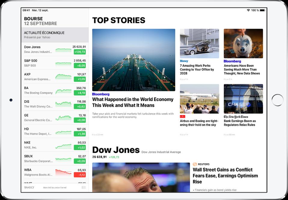 Un écran Bourse en orientation paysage. Le côté gauche de l'écran est occupé par la liste de suivi, qui répertorie les symboles et noms des actions. En regard du symbole et du nom se trouvent un graphique de performances, le cours de l'action et l'évolution du cours. Les principaux titres de l'actualité économique issus de différentes sources sont affichés à droite de la liste de suivi.