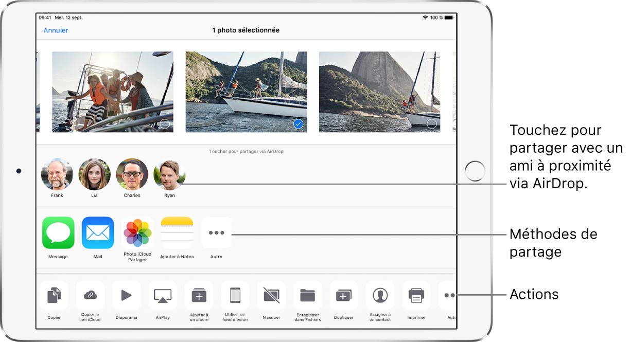 L'écran Partage AirDrop. En haut sont présentes des photos que vous pouvez sélectionner et partager. Au-dessous se trouvent les personnes avec lesquelles vous pouvez partager l'élément à l'aide d'AirDrop. Le rang suivant présente des options de partage, notamment Message, Mail, Ajouter à Notes et plus encore. Le rang du bas affiche d'autres actions, notamment Copier, Diaporama et AirPlay.