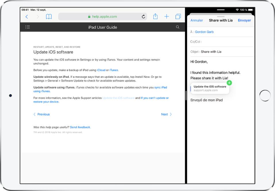 Une présentation SplitView avec une page web à gauche et un e-mail à droite. Un lien de la page web glissant vers l'e-mail.