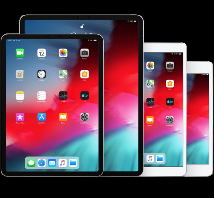 iPadPro (10,5-tommer), iPadPro (12,9-tommer, andre generasjon), iPad Air (tredje generasjon) og iPadmini (femte generasjon)