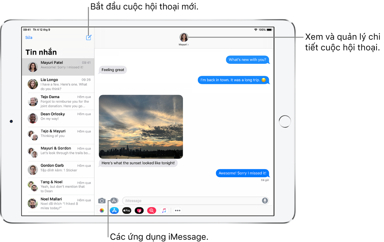 Gửi và nhận tin nhắn văn bản trên iPad - Bộ phận Hỗ trợ của