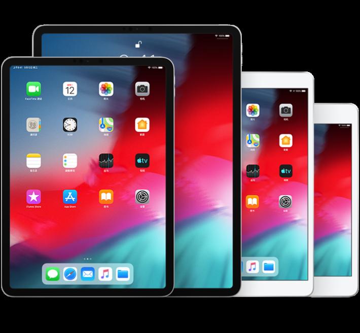 iPadPro(10.5 英寸)、第 2 代 iPadPro(12.9 英寸)、iPad Air(第 3 代)和 iPadmini(第 5 代)