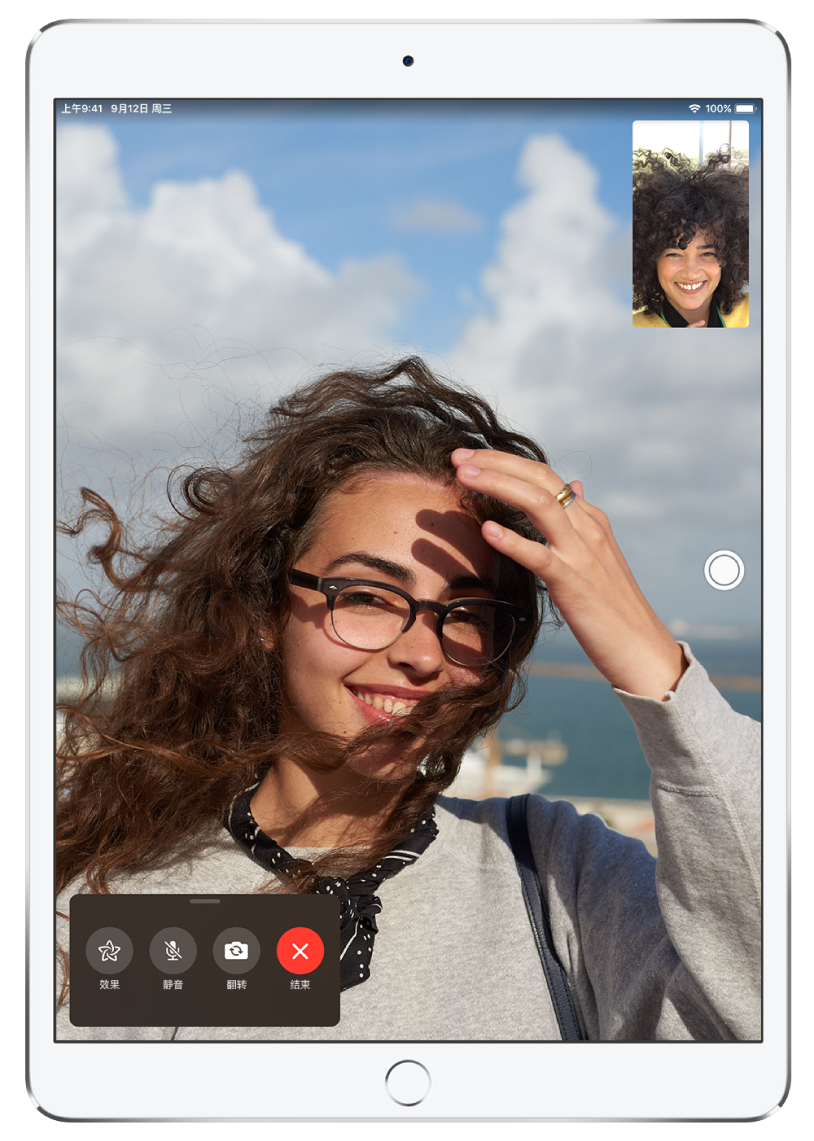 FaceTime 通话应用,显示正在进行的通话。