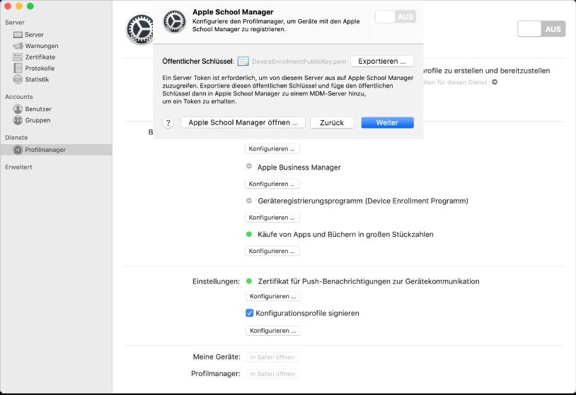 Mithilfe der Server-App können Sie einen Link von Apple School Manager oder Apple Business Manager zum Profilmanager hinzufügen.