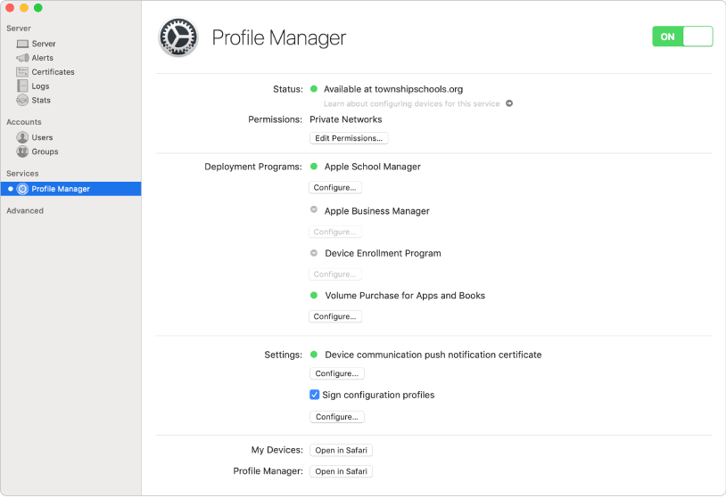 Profile Manager is turned on using the Server app and configured using the Profile Manager web interface.