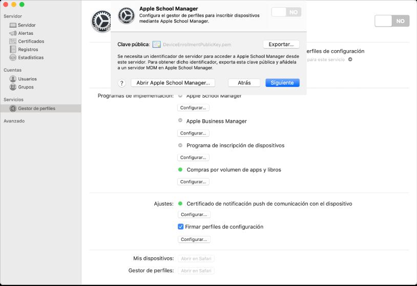 Apple School Manager o Apple Business Manager se vinculan al gestor de perfiles con la app Server.