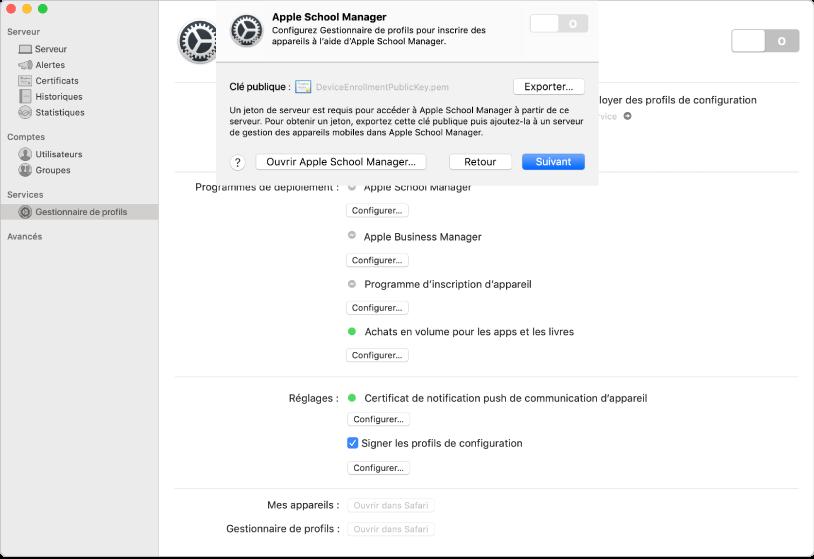 Vous liez AppleSchoolManager ou AppleBusinessManager à Gestionnaire de profils à l'aide de l'app Server.