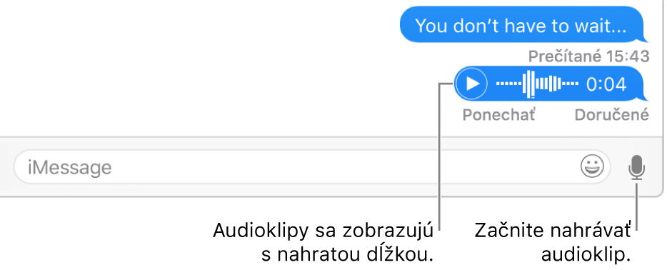 Konverzácia vokne Správy zobrazujúca tlačidlo Soundbite vedľa textového poľa vdolnej časti okna.
