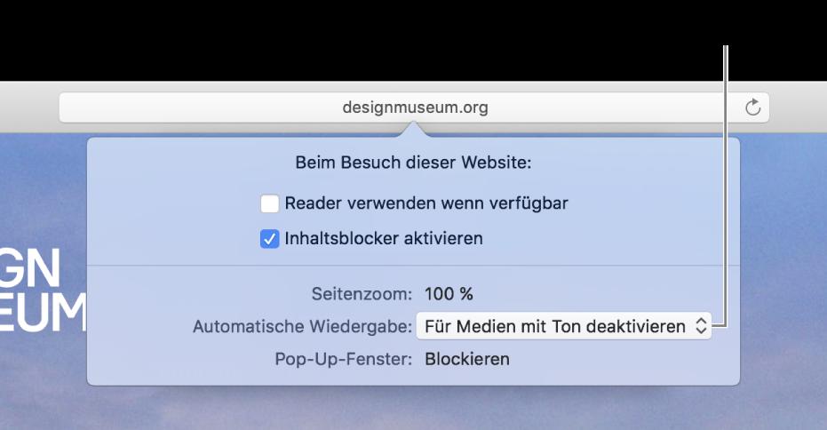 """Das Dialogfenster, das unter dem intelligenten Suchfeld angezeigt wird, wenn du """"Safari""""> """"Einstellungen für diese Website"""" auswählst. Das Dialogfenster enthält die Optionen """"Reader verwenden"""", """"Inhaltsblocker aktivieren"""" und andere Optionen, mit denen du das Verhalten der aktuellen Website anpassen kannst."""