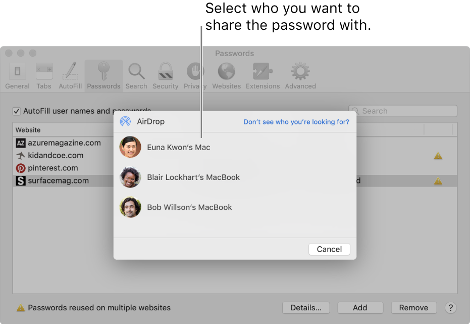 Password preferences, showing the AirDrop window and a list of devices.