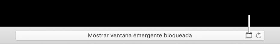 El campo de búsqueda inteligente mostrando un ícono a la derecha para permitir las ventanas emergentes.