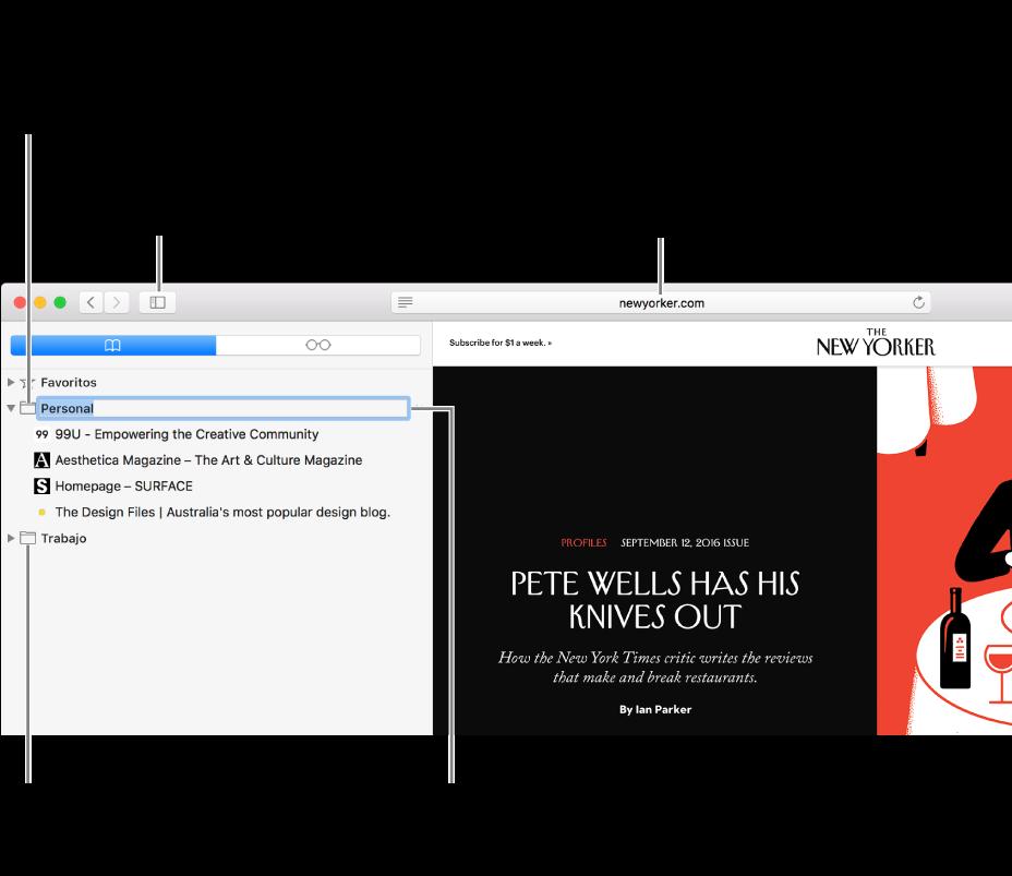 Una ventana de Safari que muestra los marcadores en la barra lateral. Un marcador está seleccionado para editar.