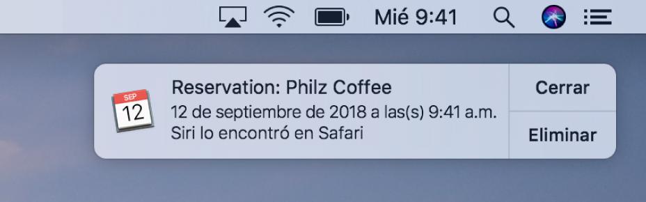 Una sugerencia de Siri para agregar un evento desde Safari a Calendario.