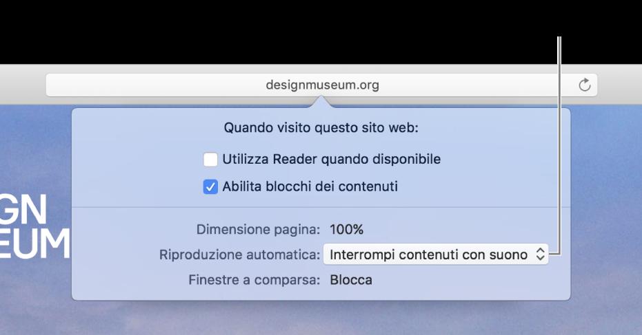 La finestra di dialogo che compare sotto il campo di ricerca smart quando scegli Safari > Impostazioni per il sito web. La finestra di dialogo permette di scegliere come personalizzare la navigazione del sito web corrente, incluso l'utilizzo della vista Reader, l'attivazione di blocchi dei contenuti e molto altro.