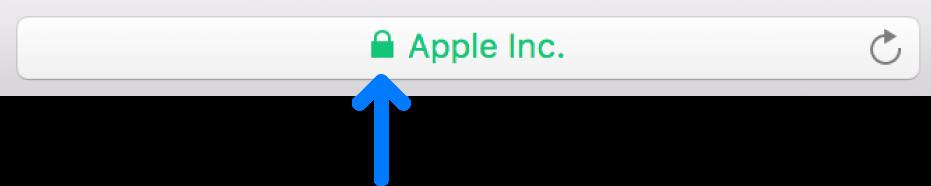 拡張検証証明書のあるサイトの暗号化アイコン(カギのようなアイコン)。