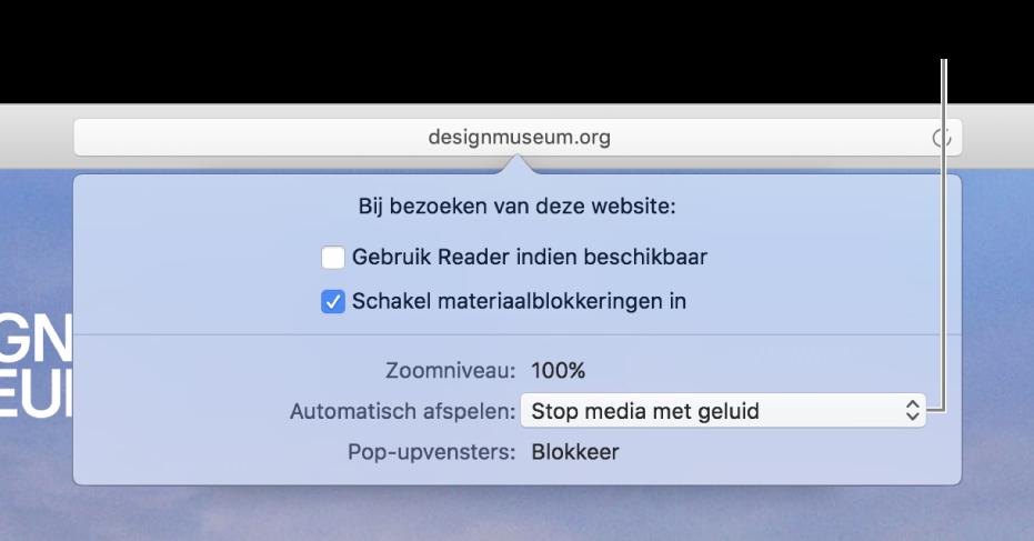 Het dialoogvenster dat onder het slimme zoekveld verschijnt wanneer je 'Safari'> 'Instellingen voor deze website' kiest. Het dialoogvenster bevat opties waarmee je kunt bepalen hoe je de huidige website bekijkt, waaronder het gebruik van de Reader en het inschakelen van materiaalblokkeringen.