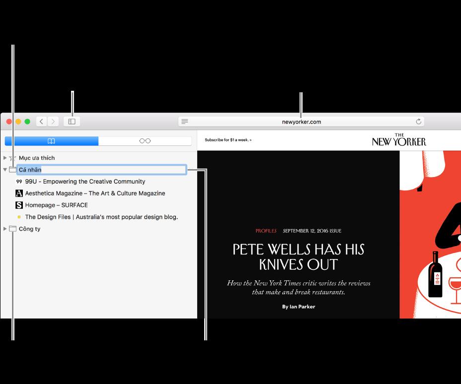 Cửa sổ Safari hiển thị các dấu trang trong thanh bên; một dấu trang được chọn để sửa.
