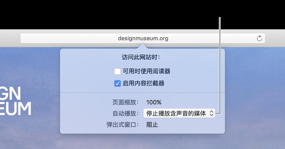 """当您选取""""Safari 浏览器"""">""""此网站的设置""""时,出现在智能搜索栏下方的对话框。包含自定浏览当前网站方式选项的对话框,其中包括使用阅读器视图、启用内容拦截器等。"""
