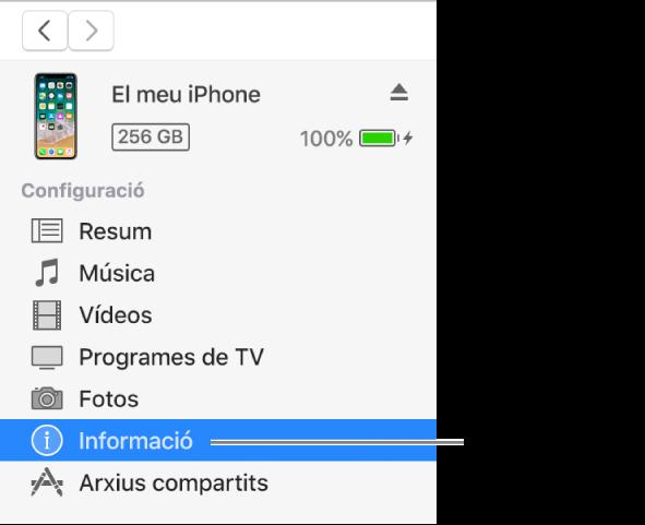 La finestra del dispositiu amb l'opció Informació seleccionada a la barra lateral de l'esquerra.