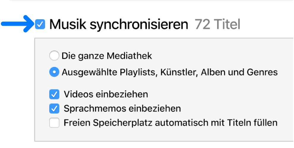 """Oben links ist die Option """"Musik synchronisieren"""" ausgewählt, und es werden Optionen zum Synchronisieren der gesamten Mediathek oder einzelner Objekte angezeigt."""