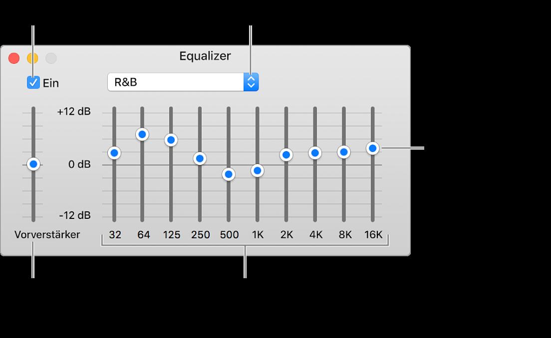 """Das Fenster """"Equalizer"""": Das Markierungsfeld zum Aktivieren des iTunes-Equalizers befindet sich oben links. Daneben ist das Einblendmenü mit den Equalizer-Voreinstellungen. Ganz links kannst du die Gesamtlautstärke von Frequenzen mit dem Vorverstärker anpassen. Unter den Equalizer-Voreinstellungen kannst du den Tonpegel der verschiedenen Frequenzbereiche anpassen, die das Spektrum des menschlichen Gehörs vom niedrigsten bis zum höchsten Bereich repräsentieren."""