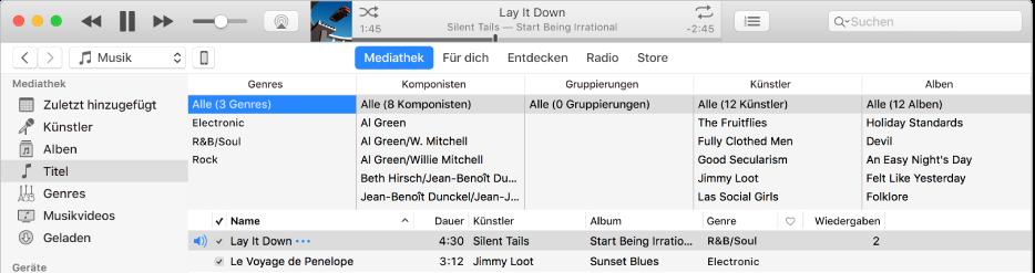 Das iTunes-Hauptfenster: Der Spaltenbrowser wird rechts neben der Seitenleiste und über der Titelliste angezeigt.