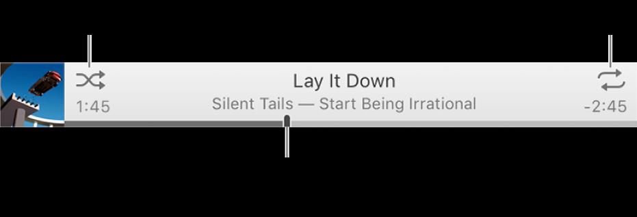 """Das Banner mit dem laufenden Titel Die Taste """"Zufällige Wiedergabe"""" befindet sich oben links, die Taste """"Wiederholen"""" oben rechts. Bewege den das Navigationswerkzeug, um zu einer bestimmten Stelle eines Titels zu gelangen."""