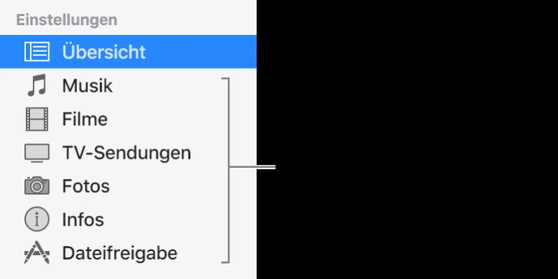 In der Seitenleiste links ist die Übersicht ausgewählt. Der angezeigte Inhalt hängt von der Art des Geräts sowie von den Inhalten deiner iTunes-Mediathek ab.