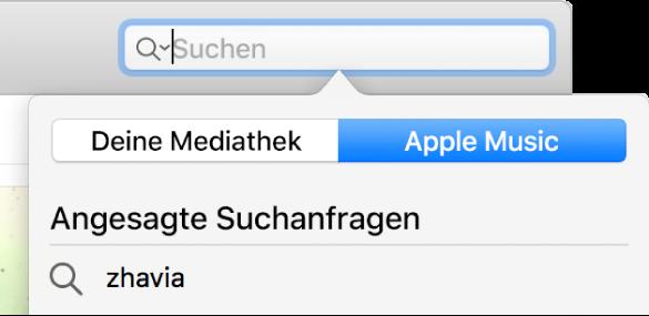 Das Suchfeld für Apple Music