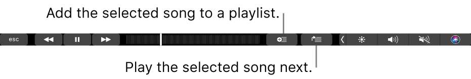 The Touch Bar controls for music, with buttons to add the selected song to a playlist and to the Up Next list.