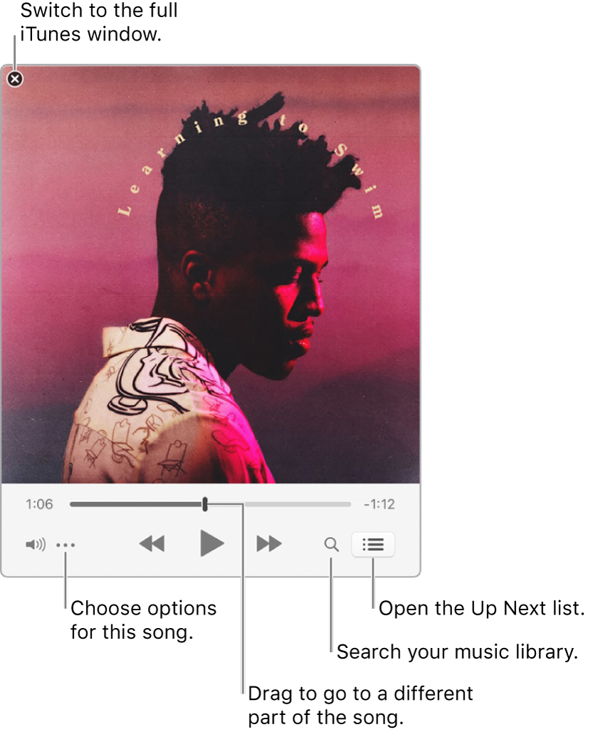 Expanded Mini Player showing the controls for the song that's playing. In the upper-left corner is the close button, used to switch to the full iTunes window. In the bottom of the window is a slider, that you can drag to go to a different part of the song. Under the slider on the left side is the Action Menu button, where you can choose view options and other options for the song that's playing. On the far right under the slider are two buttons — the magnifying glass to search the music library, and the Up Next list to see what's playing next.