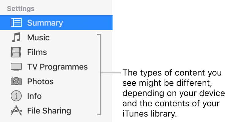 Summary is selected in the sidebar on the left. The types of content that appear might vary, depending on your device and the contents of your iTunes library.