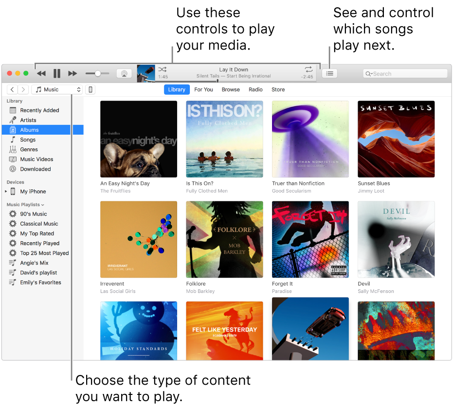 The iTunes Library main window: In the navigator, choose the type of media to play (such as Music). Use the controls in the banner at the top to play your media, and use the Up Next pop-up menu on the right to view your library in different ways.