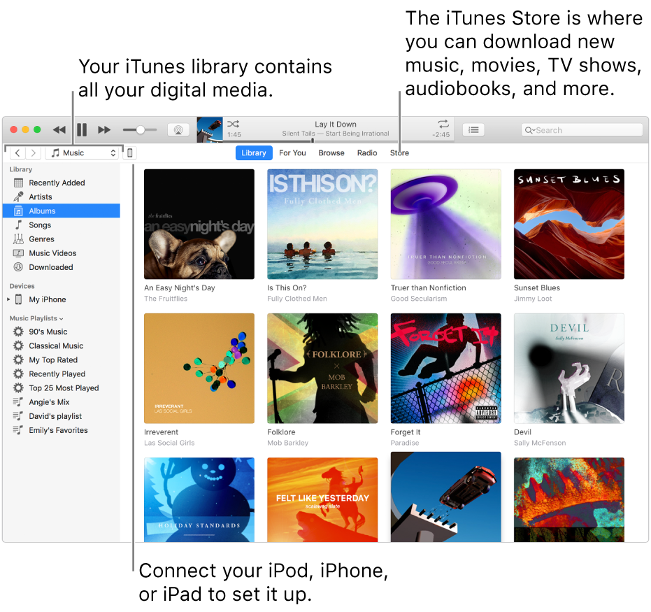 View of the iTunes window: The iTunes window has two panes. On the left is the Library sidebar, which contains all your digital media. On the right, in the larger content area, you can view a selection you're interested in—for example, visit your library or your For You page, browse new iTunes music and video, or visit the iTunes Store to download new music, movies, TV shows, audiobooks, and more. To the upper right of the Library sidebar is the Device button, which shows that your iPod, iPhone, or iPad is connected to your Mac.