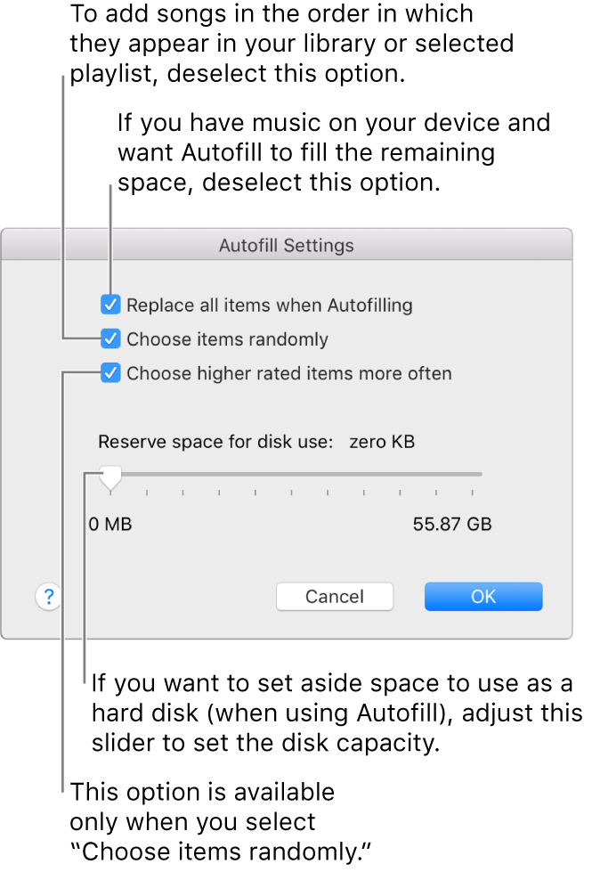 """The Autofill Settings dialog showing four options, from top to bottom. If you have music on your device and want Autofill to fill the remaining space, deselect the option """"Replace all items when Autofilling."""" To add songs in the order in which they appear in your library or selected playlist, deselect the option """"Choose items randomly."""" The next option, """"Choose higher rated items more often,"""" is available only when you select the option """"Choose items randomly."""" If you want to set aside space to use as a hard disk, adjust the slider to set the disk capacity."""