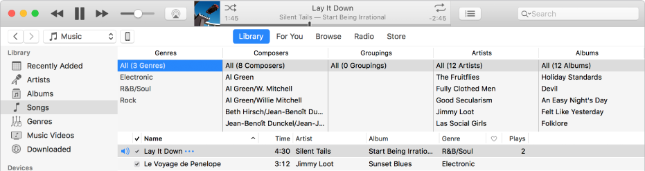 The iTunes main window: The column browser appears to the right of the sidebar and above the list of songs.